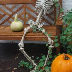 Mr. Bones welcomes trick-or-treaters on rainy Halloween
