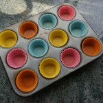 Muffin pan lined with silicone liners