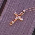 Enameled mosaic cross necklace